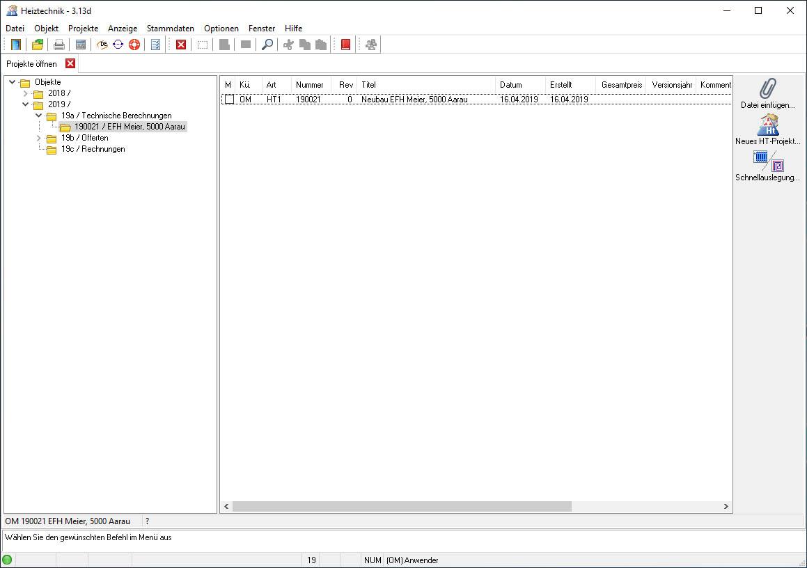 Win_HT Projekt- und Objektübersicht